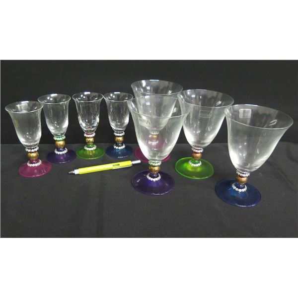 Qty 8 Alan Lee Collection Wine & Aperitif Glasses w/ Colored Base & Crystal Accents