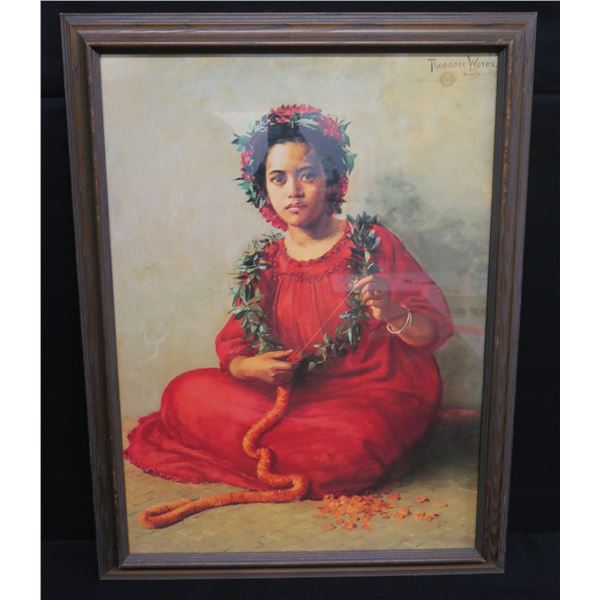 Hawaiian Lei-Maker, Framed Print, Artist Thomas Wores Honolulu 22 x29