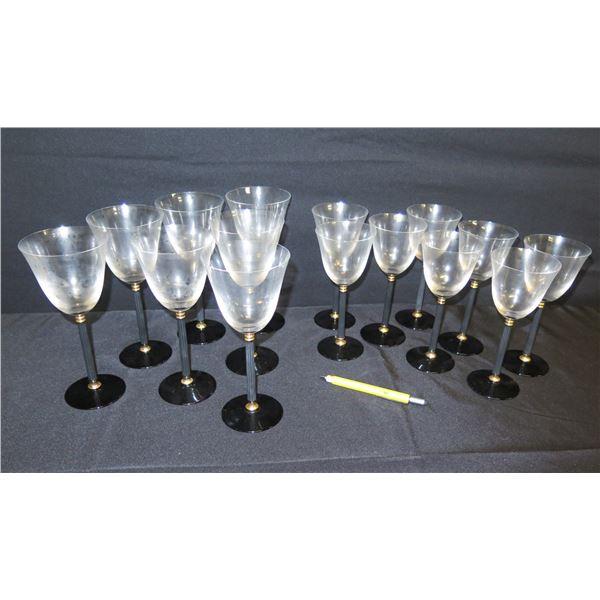 """Qty 15 Black-Stemmed Beverage Glasses (Large 9""""H,  Small 8""""H)"""