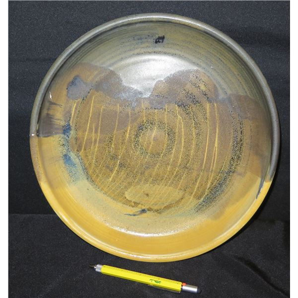 "Ceramic Yellow Gray Pottery w/ Raised Edge, Signed II, 13""D"