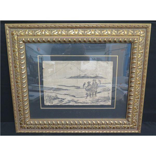 """Black & White UTAM Landscape Art Asian Men in Gold Design Frame 30""""x25"""""""