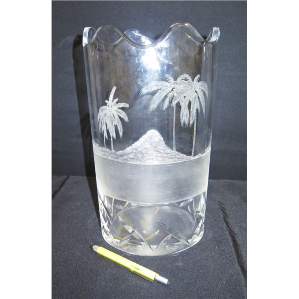 Waterford Crystal 1 of 10, Pete Foskin Etched Vase w/ Palm Tree Motif 7 x14 H
