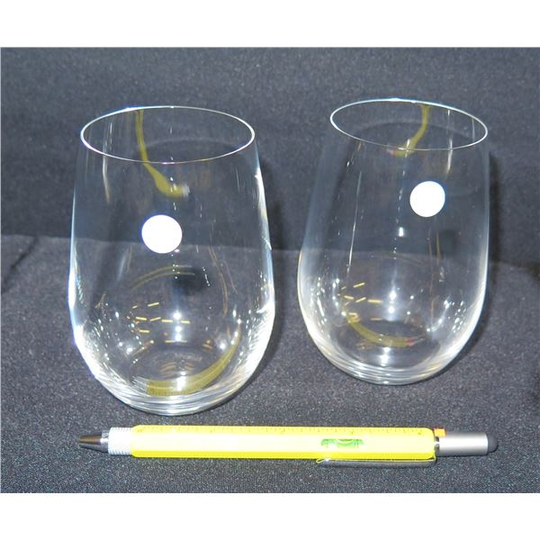 Qty 2 Tiffany & Co. Beverage Glasses, Made in Germany 4.5 H