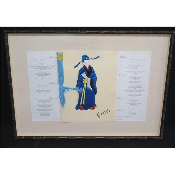 Framed Gaddi's Hong Kong Menu w/ Tassel & Asian Male Accent 33 x24