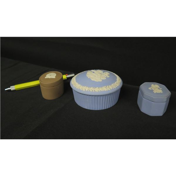 Qty 3 Wedgwood (England) Trinket Boxes: 2 Blue & 1 Brown w/Shell Design