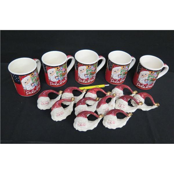 Qty 5 'Celebrate' Nancy Thomas Mugs & 11 Santa Napkin Holders, Marked FF 1999