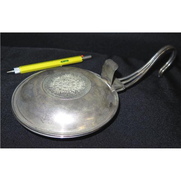 """Vintage Round Metal 'Warmer' w/ Hook Handle 11""""L"""