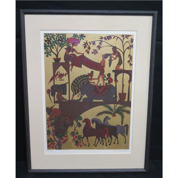 """Framed Art, Woman Bathing on Elephant, Signed Shlomo Katz, 23""""x30"""""""