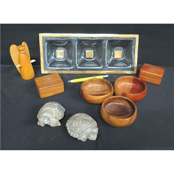 Serving Dish (Signed Annieglass 36/37), 3 Wooden Bowls, 2 Boxes, 2 Carved Turtles & Wooden Angel