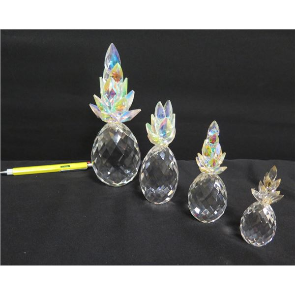 Qty 4 Crystal Pineapples w/ Colorful Crowns, Misc Sizes