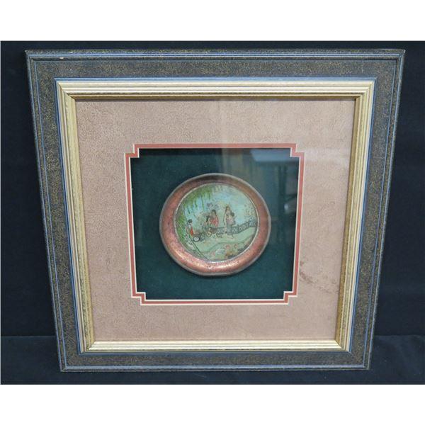 Framed Plate w/ Asian Garden Scene, Marked LX28-05 (Plate 5 D) 15 x17  Frame