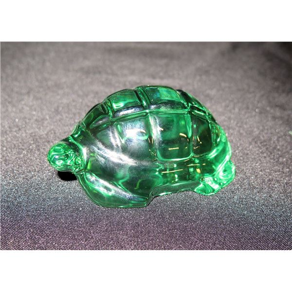 Baccarat France Green Glass Turtle Figurine