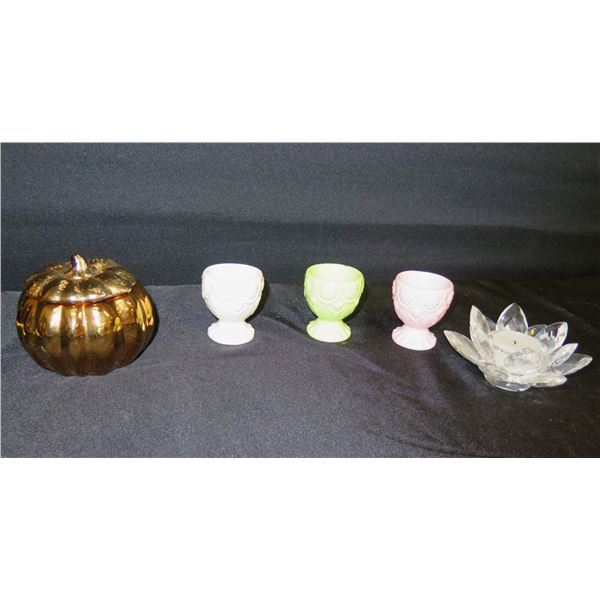 Qty 3 Egg Cups, Crystal Lotus Flower Candleholder & Pumpkin Candle