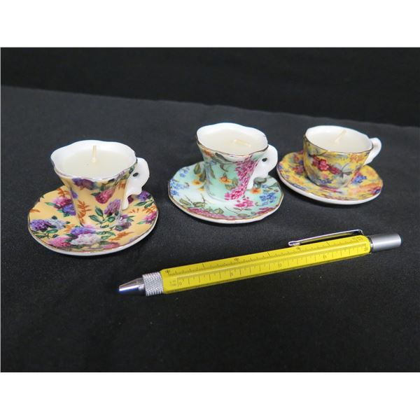 "Qty 3 Miniature Demitasse Teacups/Saucers Candles w/ Floral Design 2.5""D"
