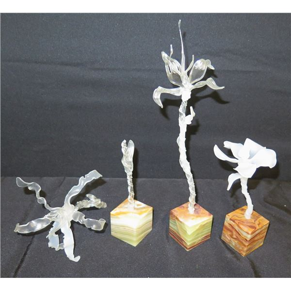 """Qty 4 Frozen Flowers on Solid Stone Base by Artist Maika'i Tubbs (Retail $200 each) 8""""-15""""H"""