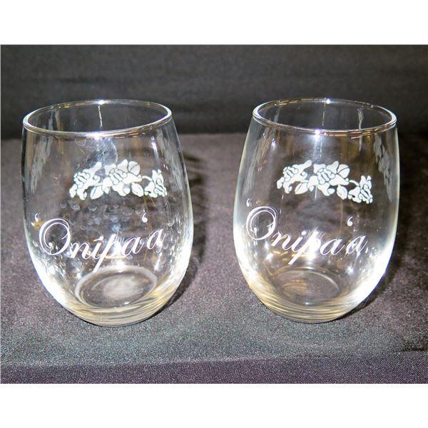 "Qty 2 Onipa'a Beverage Glasses w/ Acid-Etched Accent 4.5""H"