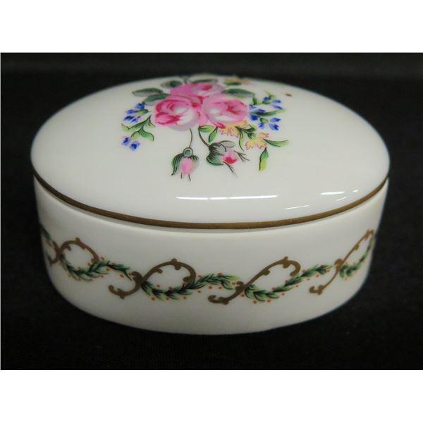 Haviland Limoges France White Oval Floral Trinket Box, Approx.  3 L