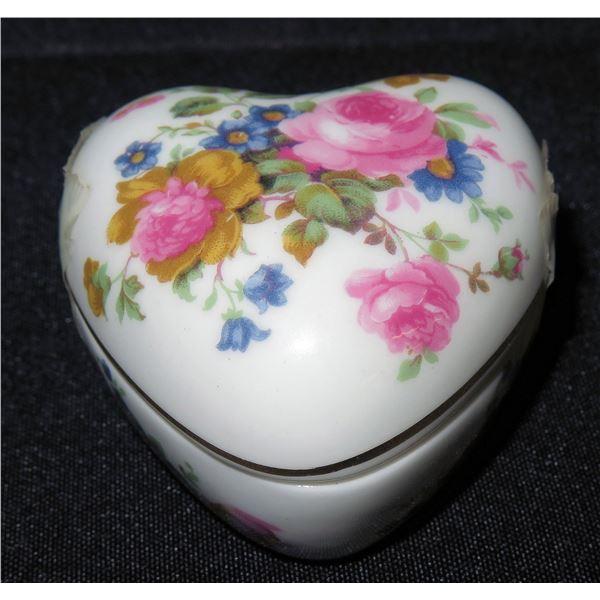 "Royal Windsor England Fine Bone China, Heart-Shaped Floral Trinket Box, Approx. 2.5"" Dia."