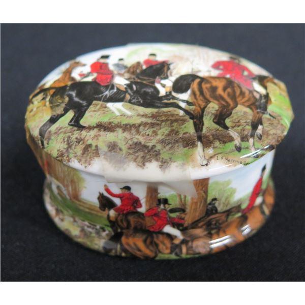 "Newhall Staffordshire England Bone China 'Horses' Trinket Box, Approx. 2.75"" Dia."