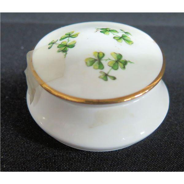 "Royal Tara Irish Fine China Round Clover Trinket Box, Approx. 2.25"" Dia."