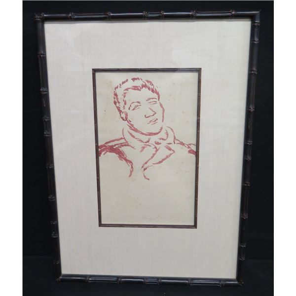 """Framed Original Sketch by Madge Tennent, Male Figure, Signed 17""""x24"""""""