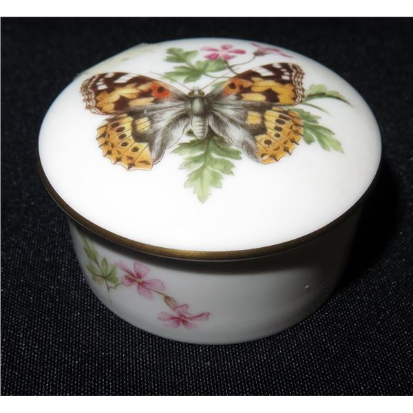 """Royal Worchester England Fine Bone China Butterfly Trinket Box, Approx. 2.5"""" Dia."""
