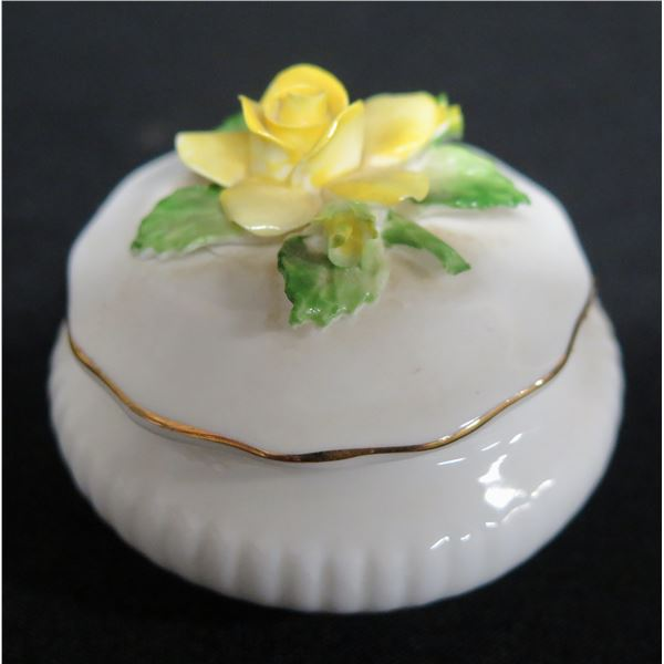 Round White Porcelain Trinket Box w/ Yellow Rose