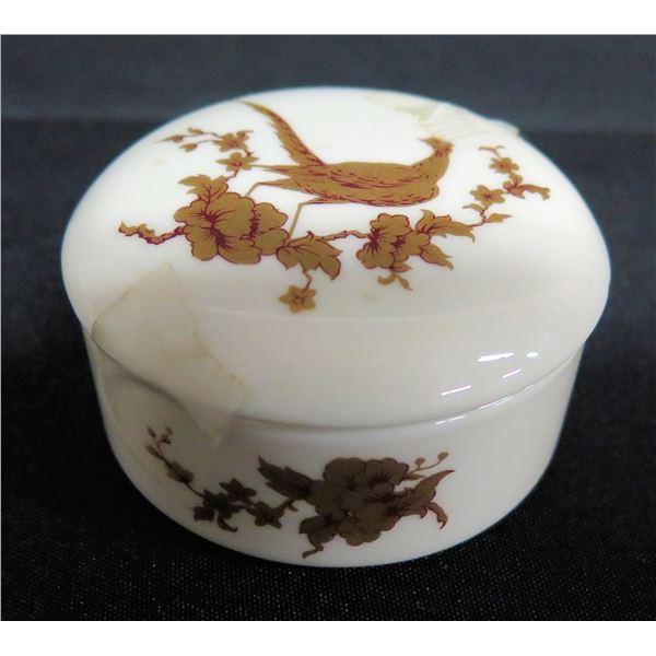 "Gorham Porcelain Trinket Box w/ Bird Design, Approx. 2.5"" Dia."