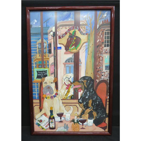 """Framed Dog Street Scene 'The Plumed Horse' 16""""x24"""""""
