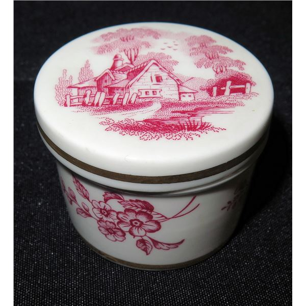 """Spode England Red Floral Trinket Box, Approx. 2"""" Dia."""
