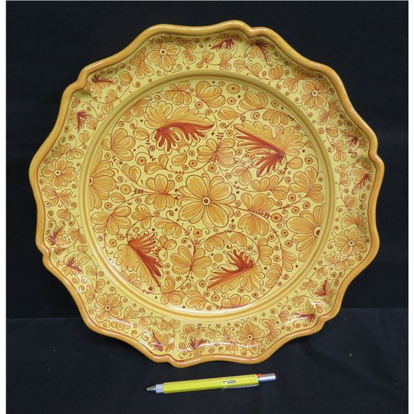 "Grazia-Deruta (Made in Italy) Plate w/ Floral Design, Signed GF, 15"" Dia."