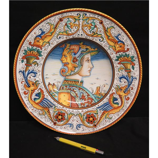 """Grazia-Deruta (Made in Italy) Plate w/ Warrior & Dragons, 14"""" Dia. Signed AB"""