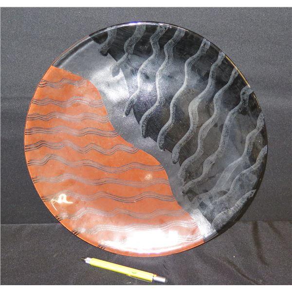"Abstract Black Orange Gray Ceramic Plate, 15""Dia."