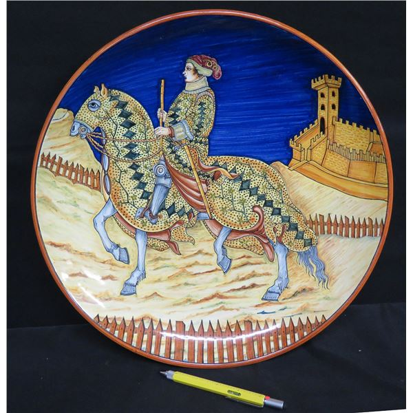 "Grazia-Deruta (Made in Italy) Plate w/ Guard on Horse, Signed GF, 15.5"" Dia."