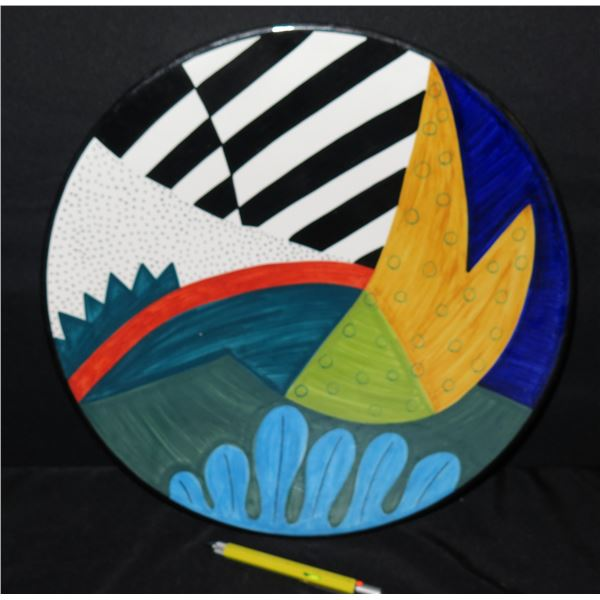 "Grazia-Deruta (Made in Italy) Plate 58 Abstract Susan Eslick 16"" Dia."