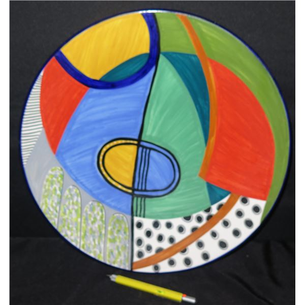 """Grazia-Deruta (Made in Italy) Plate 53 Abstract Susan Eslick Plate 16"""" Dia."""