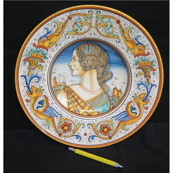 """Grazia-Deruta (Made in Italy) Plate, A. Binaglio, 14""""Dia., Female Roman Figure,"""