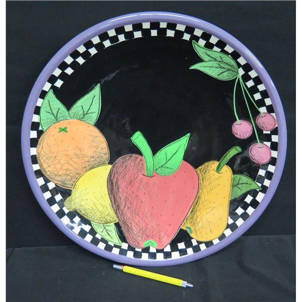 "Round Black Plate, Fruit Motif w/ Checked Border, 17""Dia., Signed Kig 99"