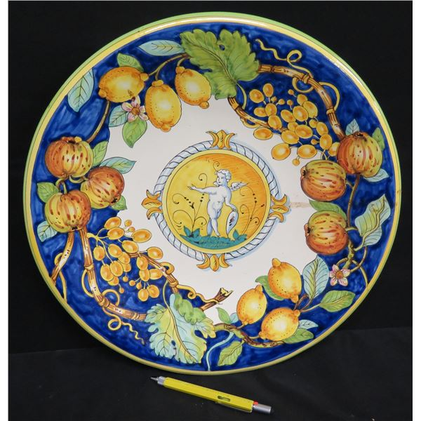 """Blue & White Decorative Cupid & Fruit Motif Plate, Made in Italy, 16"""" Dia."""