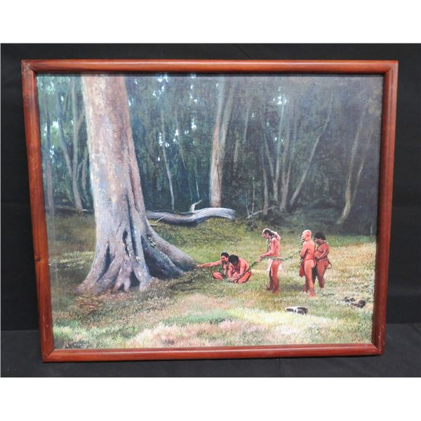 """Framed Giclee on Canvas - Ceremonial Scene w/ Five Males 23""""x20"""""""