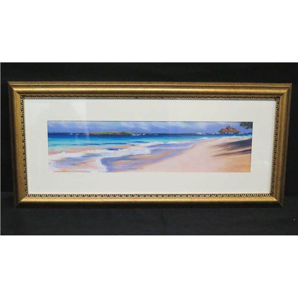 "Framed Original Pastel on Canvas 'Kailua Beach' Signed, 2003 Nancy Poes 22""x10"""