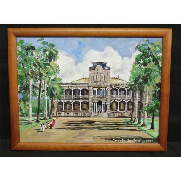 """Framed Original Painting on Canvas - Iolani Palace, Signed, 2004 Cedric Hustace 17""""x14"""""""