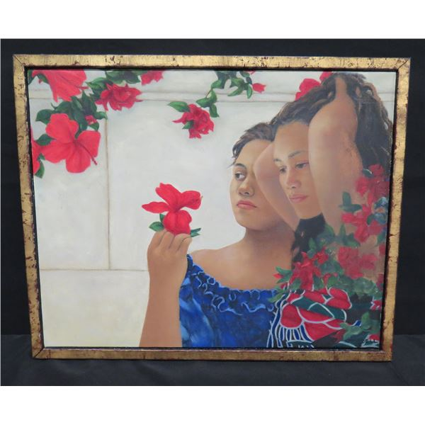"""Framed Original Oil on Canvas - Girls w/ Red Hibiscus, Signed Campbell 03, 21""""x17"""""""