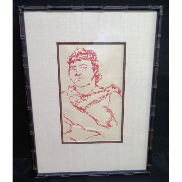"""Framed Original Sketch by Madge Tennent, Female Figure, Signed 17""""x24"""""""
