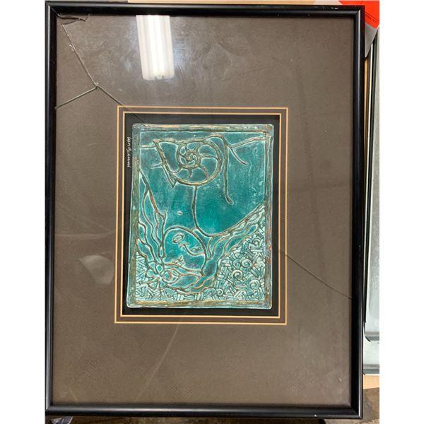 "Framed Original: Acrylic on Board, Lyn Gianni, Signed 'Lady with Nautilus Shell' 14""x18"" (Broken Gl)"