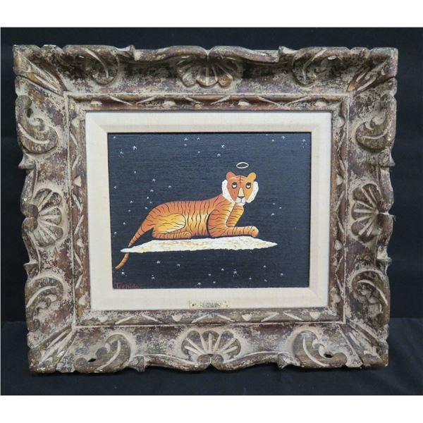 "Framed Original Painting - Tiger w/ Halo, Signed Tschida 1979 (16""x15"")"