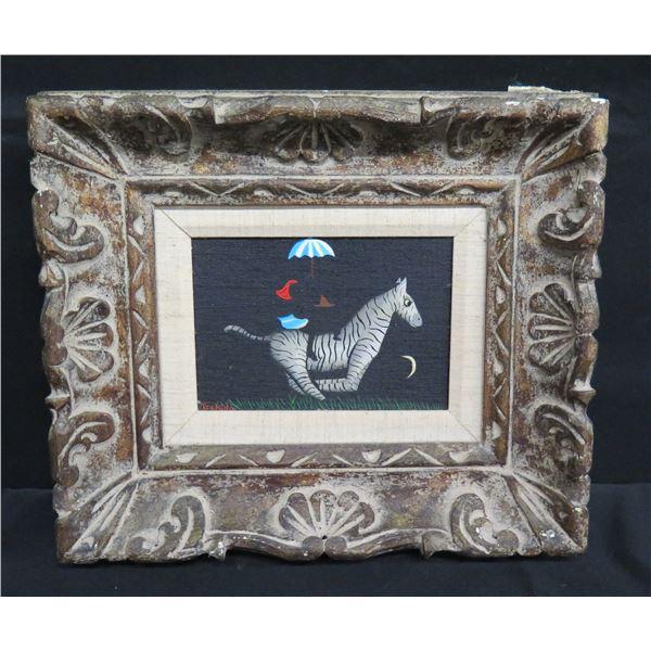 Framed Original Painting - Zebra w/ Umbrella, Signed Tschida 1979 (13.5 x 11.5)