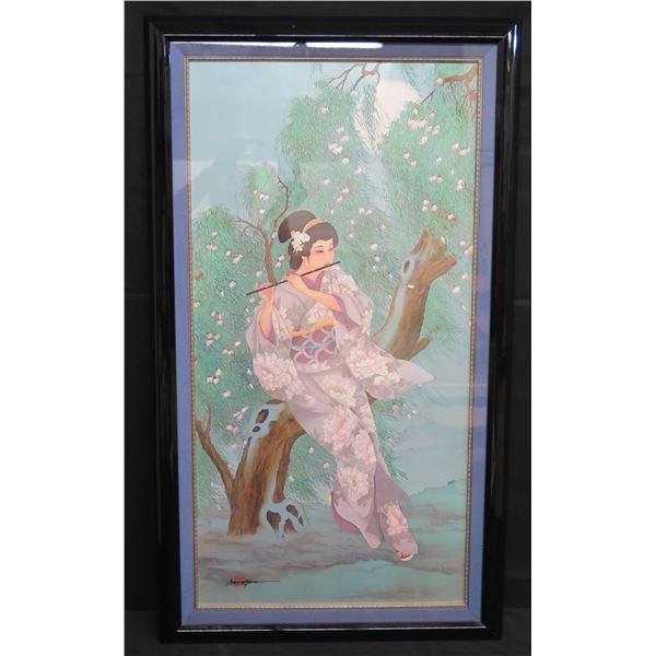 """Framed Art - Geisha w/ Flute, Signed Carolina Young 23""""x44"""""""