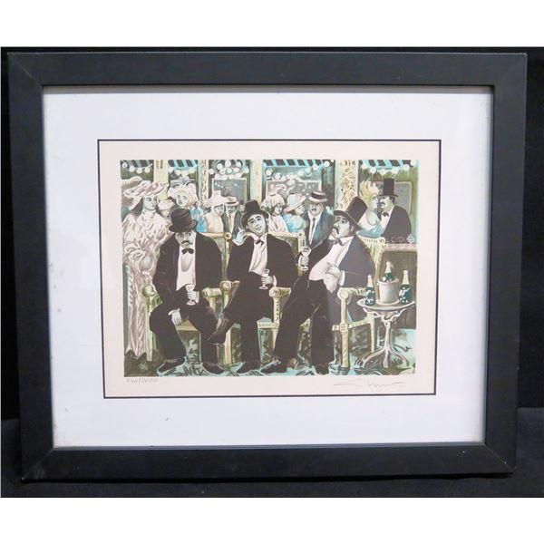 "Framed Art: Men w/ Top Hats by Guy Buffet, Signed 240/2000 (12""x11"")"