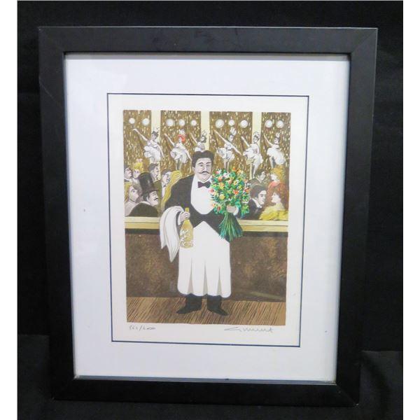 "Framed Art: Maître D w/ Flowers by Guy Buffet, Signed 864/4000 (10""x13"")"